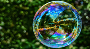 Iridescent balls or soap bubbles are delicate structures but beautiful.