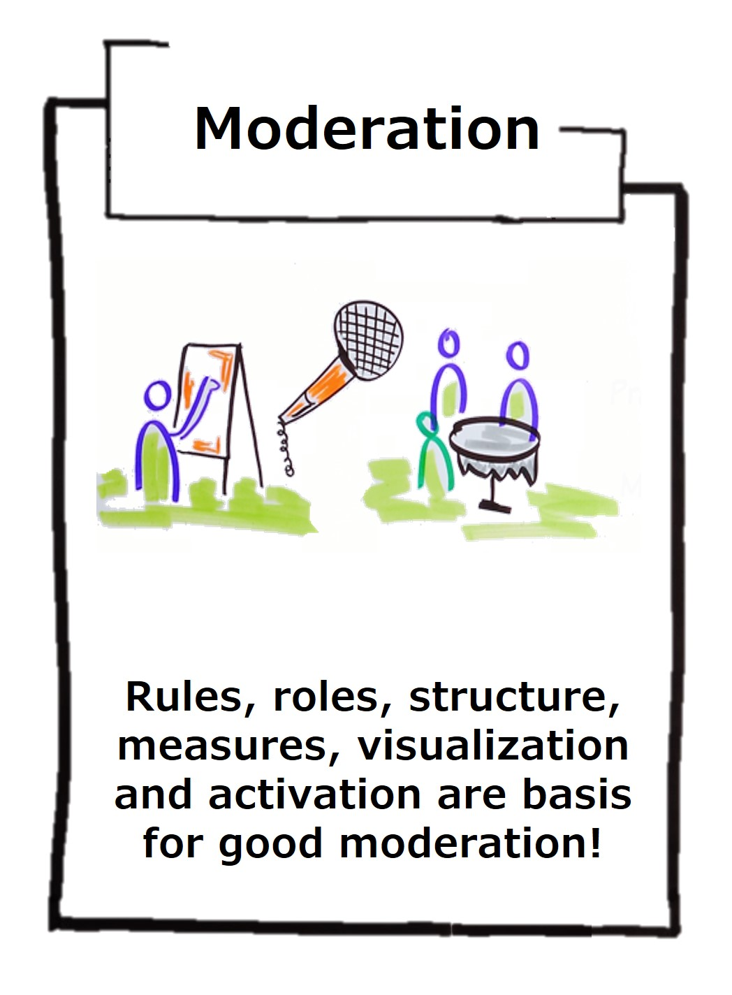 Good moderation activates everyone and produces good results. A good moderator pays attention to the resources of everyone involved and takes everyone seriously!